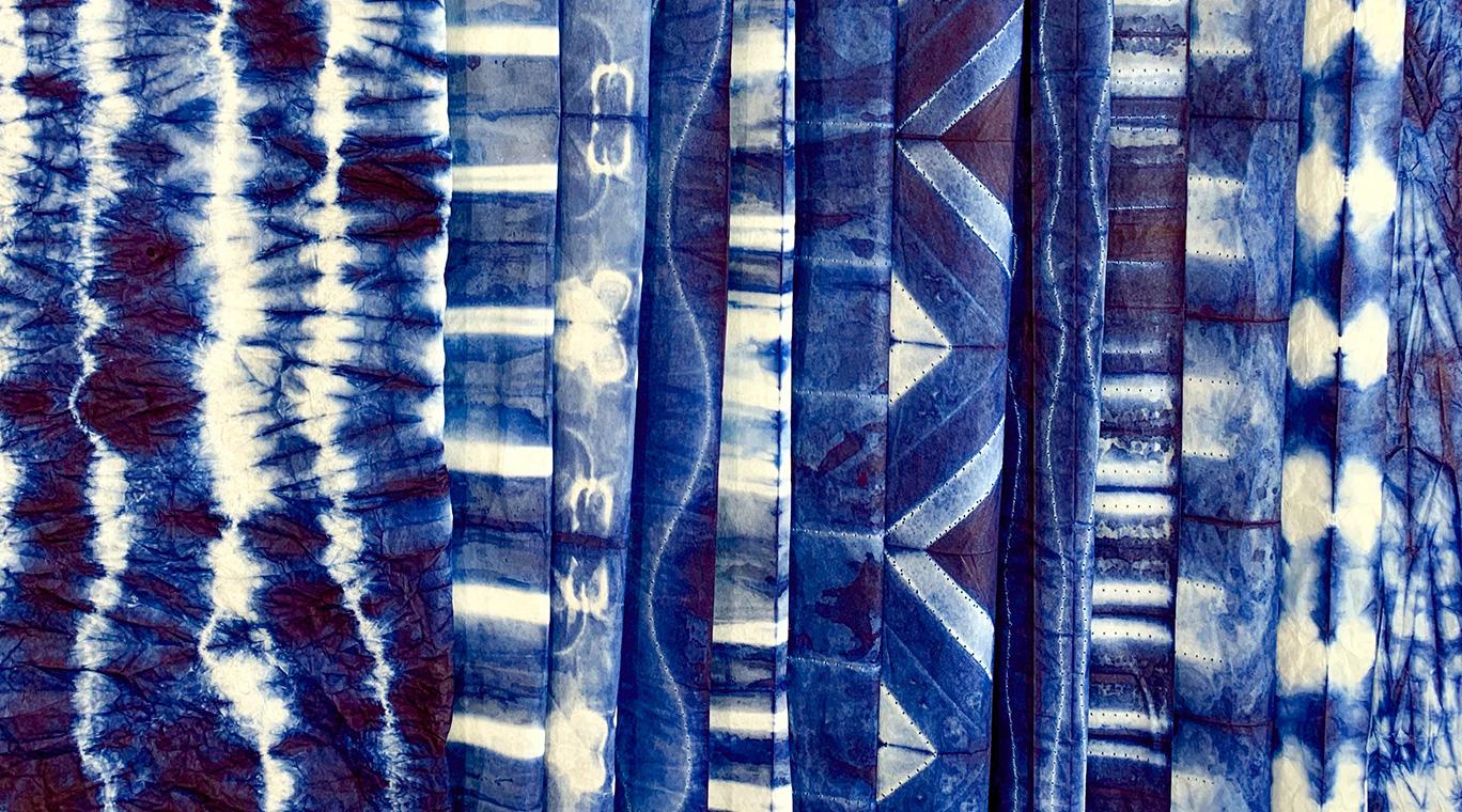 shibori indigo dyed paper