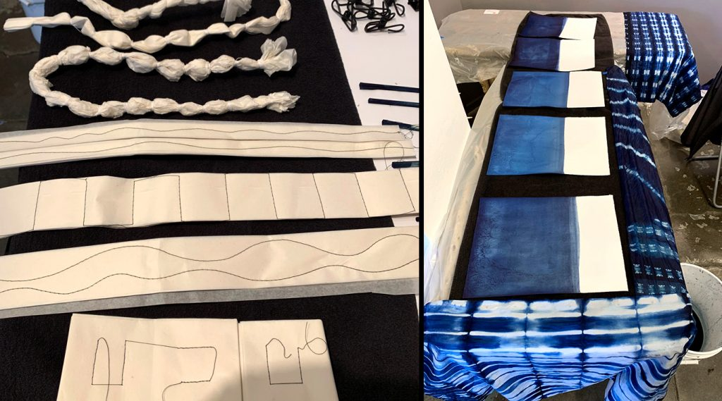 Examples of Japanese shibori techniques, stitching and binding of paper before and after dyeing.