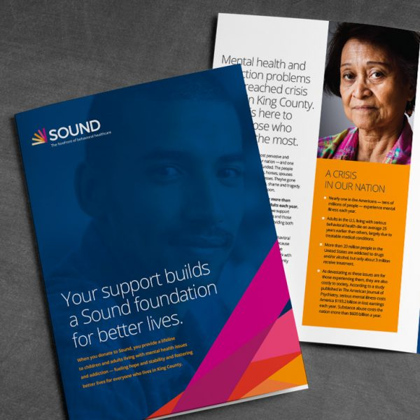 Cover and inside spread of capital campaign brochure for Sound Mental Health