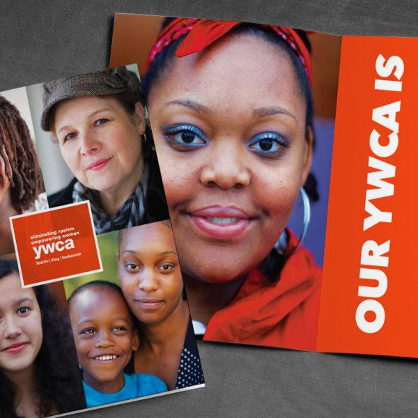 YWCA Organizational Brochure – cover and inside spread with photos of women