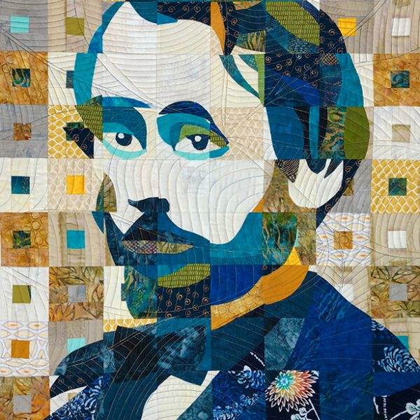 portrait quilt of Edgar Degas in blues, yellows, and greens