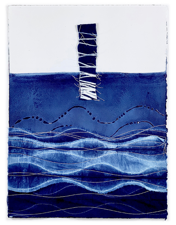 David Owen Hastings © 2019 Okoru (Arise) – indigo dyed paper and stitching