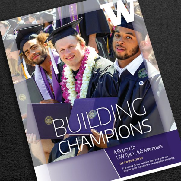 Cover of UW Tyee Club Gratitude Report showing recent graduates