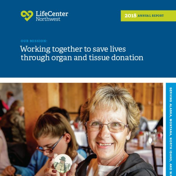 Annual Report Cover for LifeCenter Northwest