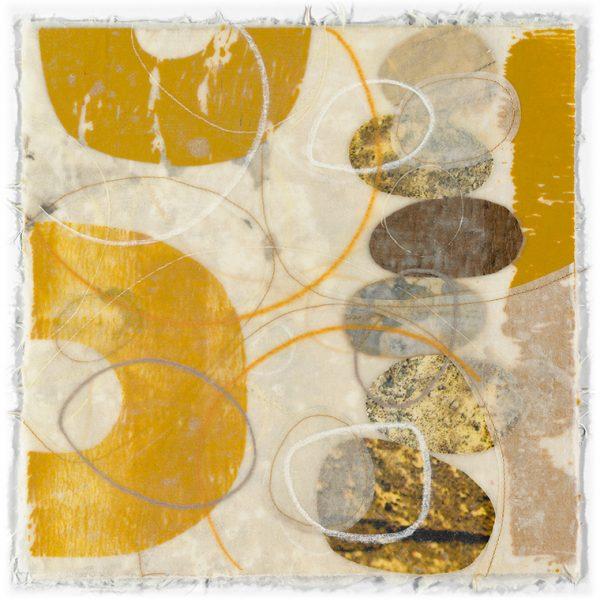 """Artwork by David Owen Hastings – """"Tamaru (Accumulate)"""" in gold, brown and beige"""