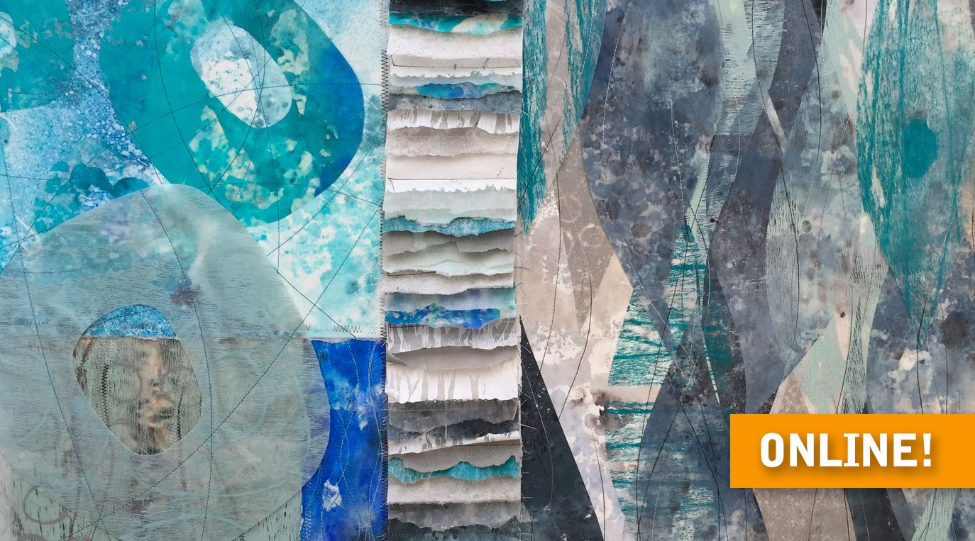"Stitched paper artwork – detail of ""Umi (Ocean)"" artwork in teals and blues"