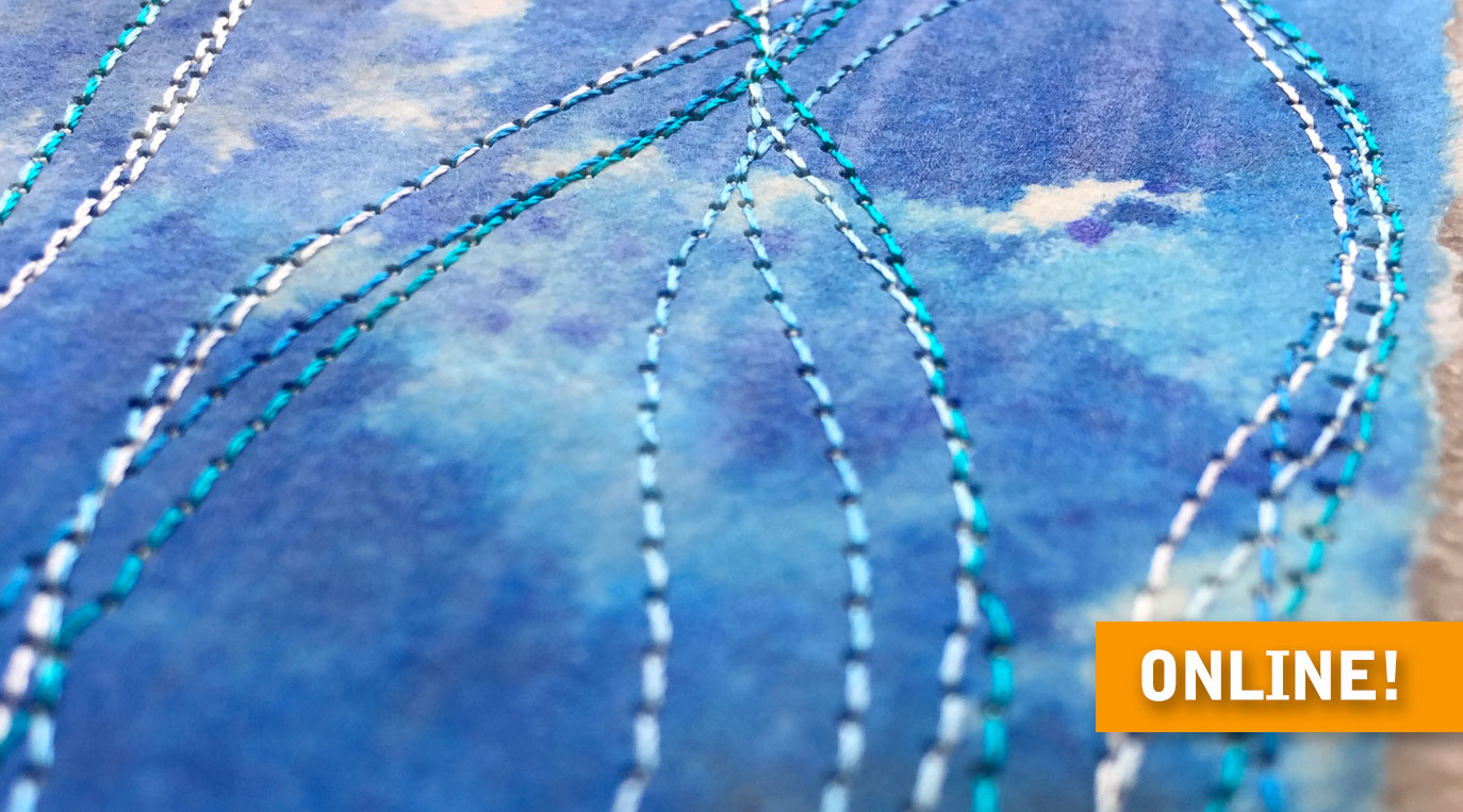 "Stitched paper artwork – very close detail of ""Umi (Ocean)"" artwork in blues"