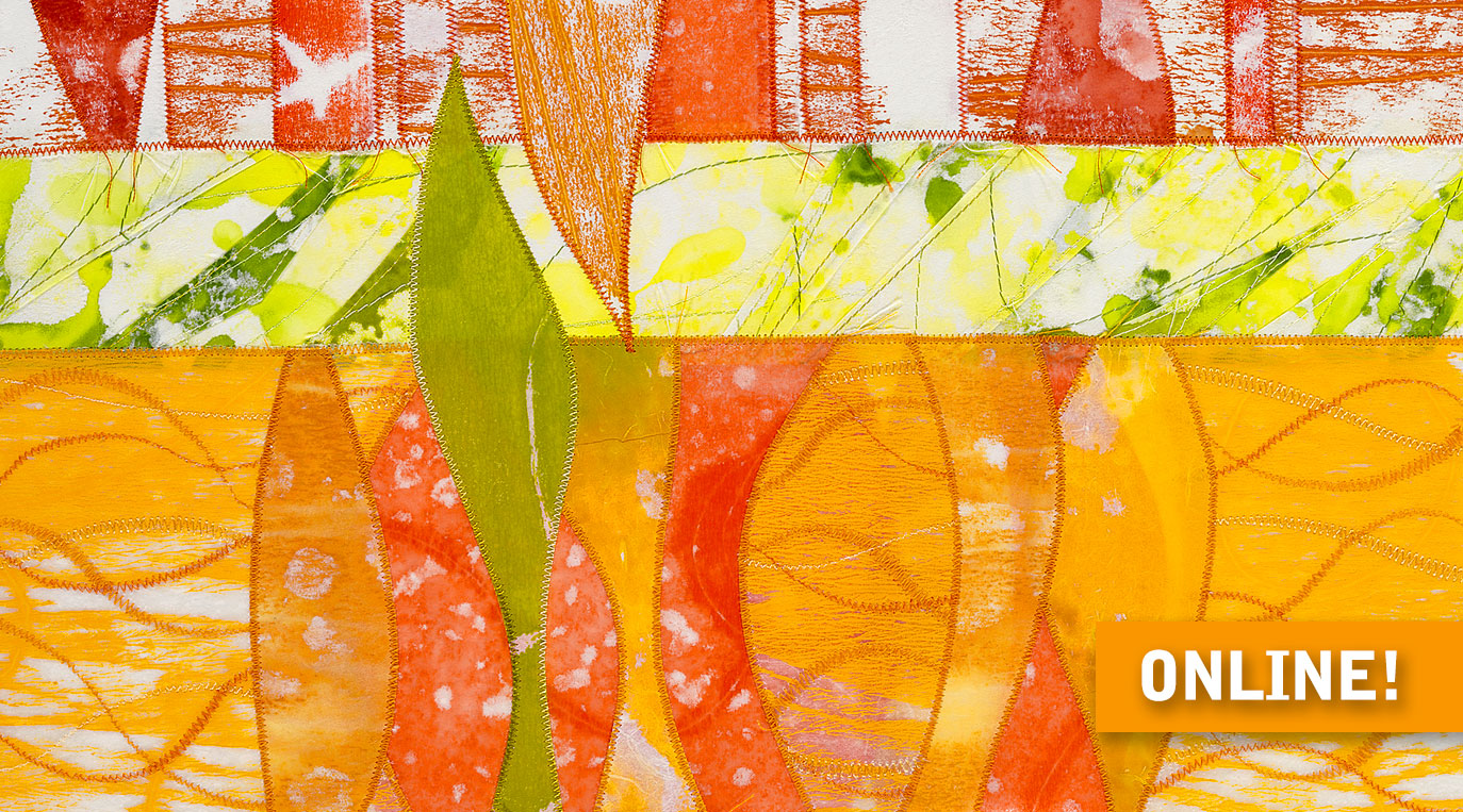 "Stitched paper artwork – detail of ""Nettai (Tropical)"" artwork in yellow, orange and green"