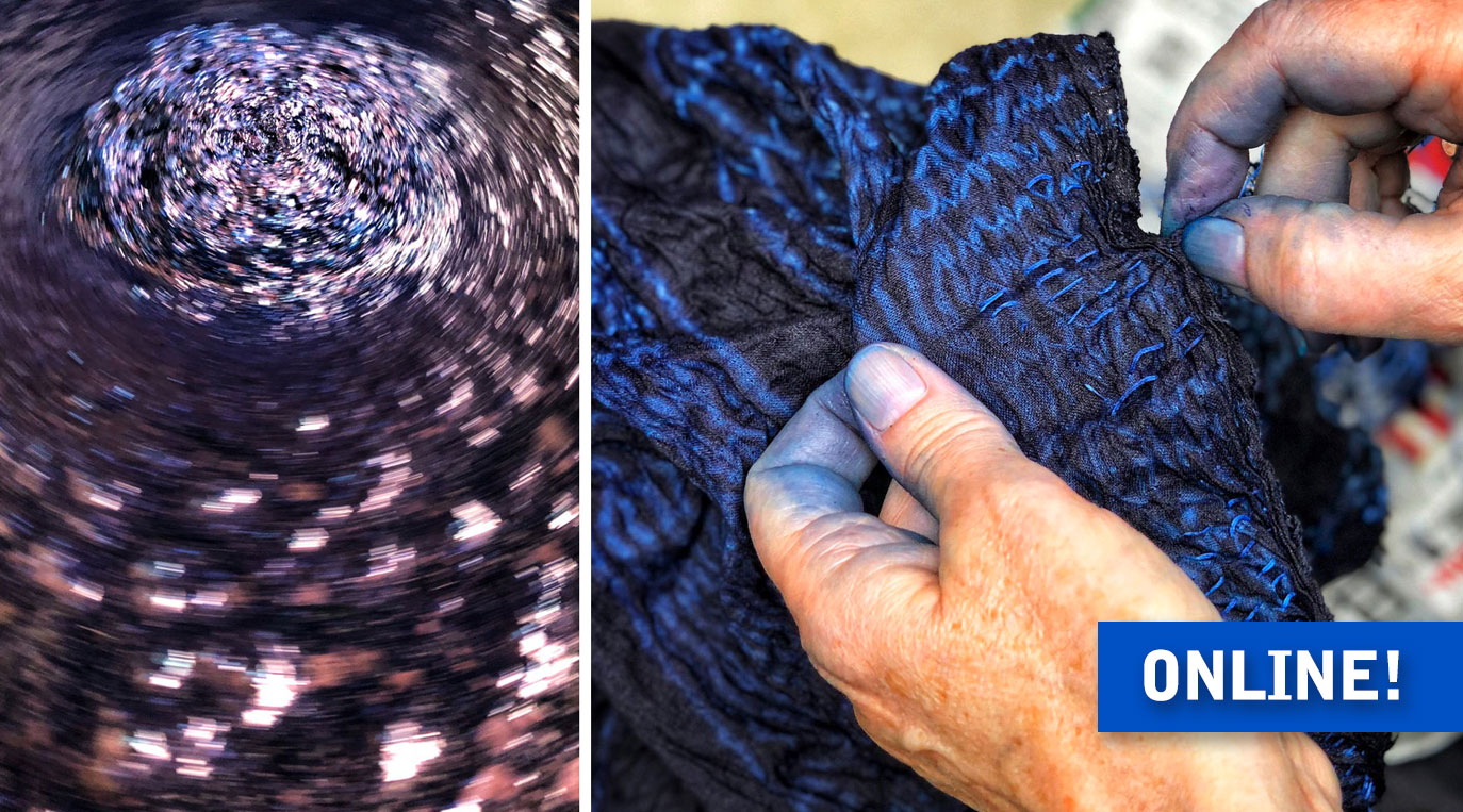Lecture – Indigo Dyeing in Japan – swirling indigo vat and blue tinted hands unwrapping shibori