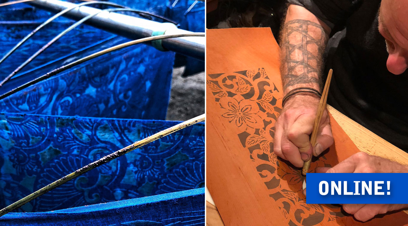 Lecture – Indigo Dyeing in Japan – katazome panels and cutting a stencil