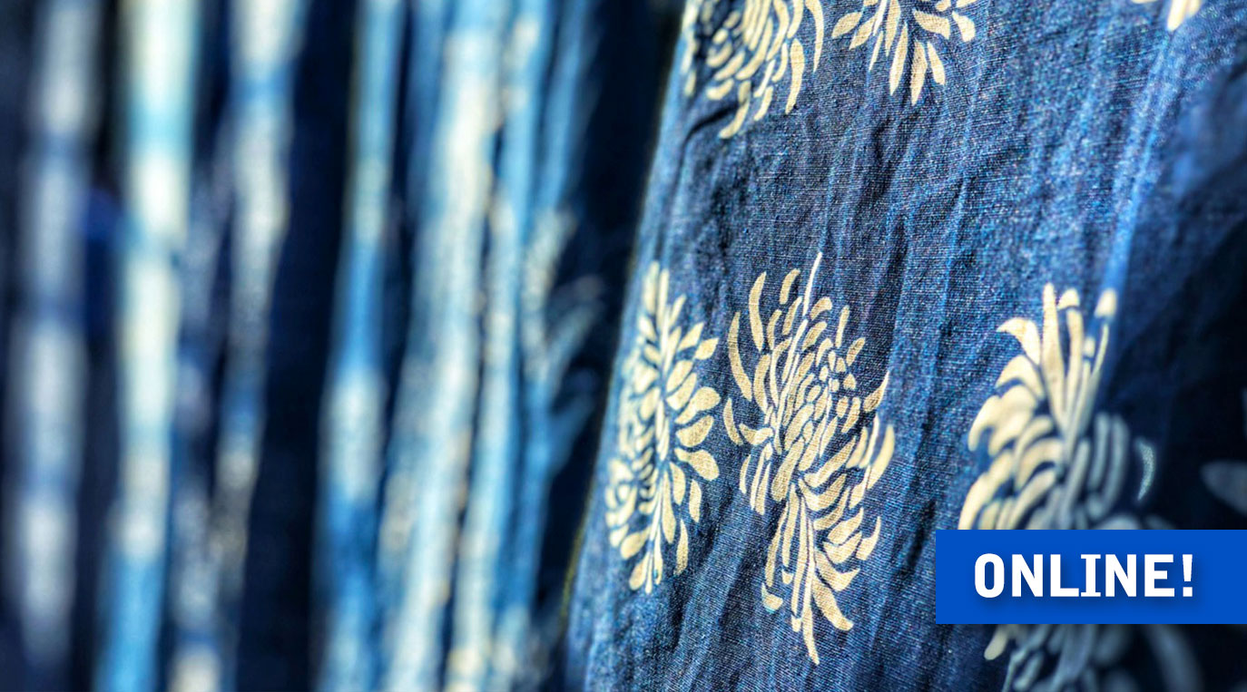 Lecture – Indigo Dyeing in Japan – closeup of katazome dyed fabric