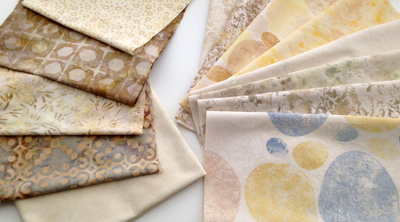 Batik fabric and hand-printed muslin in warm tones