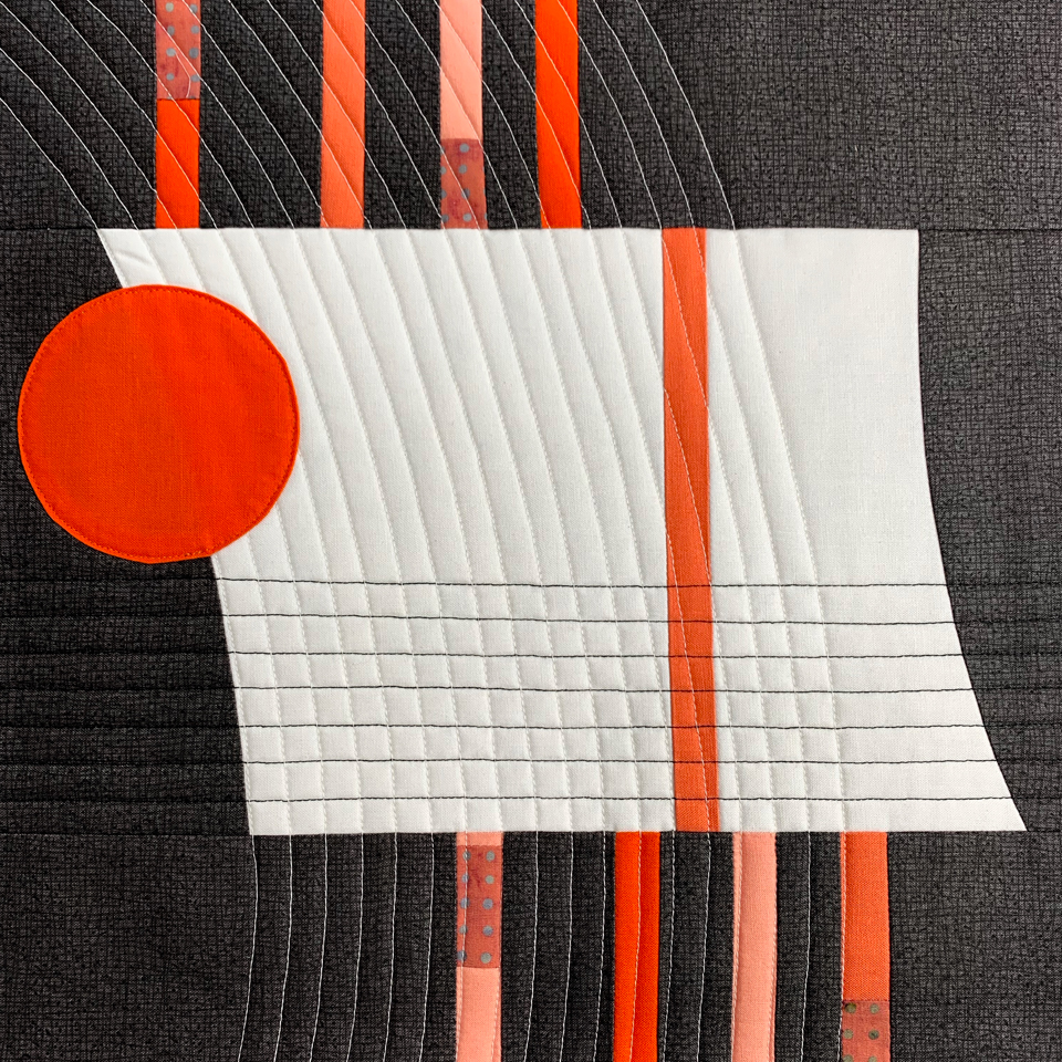 Inspired by Architecture Workshop – charcoal grey, carmine red and white quilt