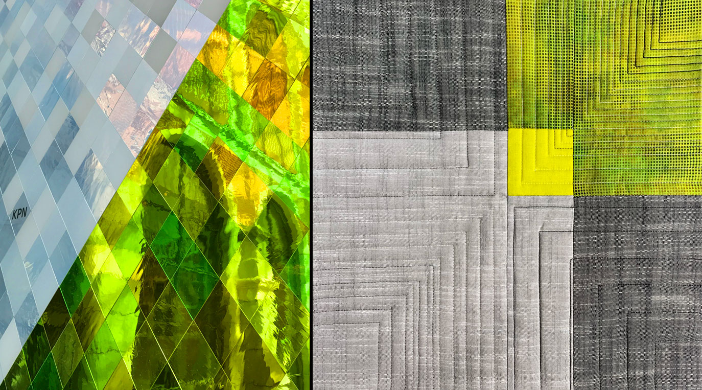 Inspired by Architecture Workshop – photo of stained glass with quilt