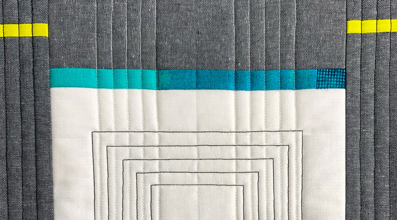 Inspired by Architecture Workshop – modern quilt detail in white, grey, teal and lime green