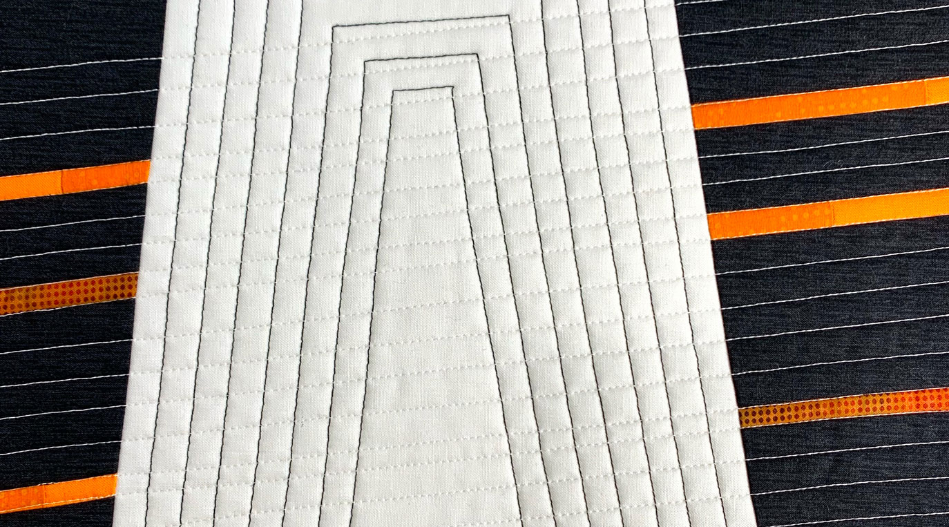 Inspired by Architecture Workshop – modern quilt detail in white, black and orange