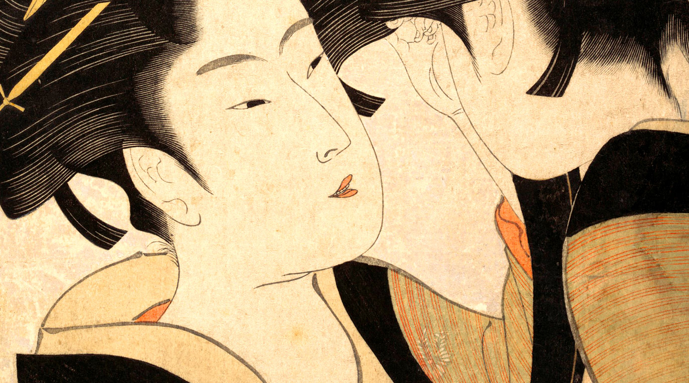 Inspired by Art Workshop – detail of original ukiyo-e print Naniwa Okita Admires Herself in a Mirror