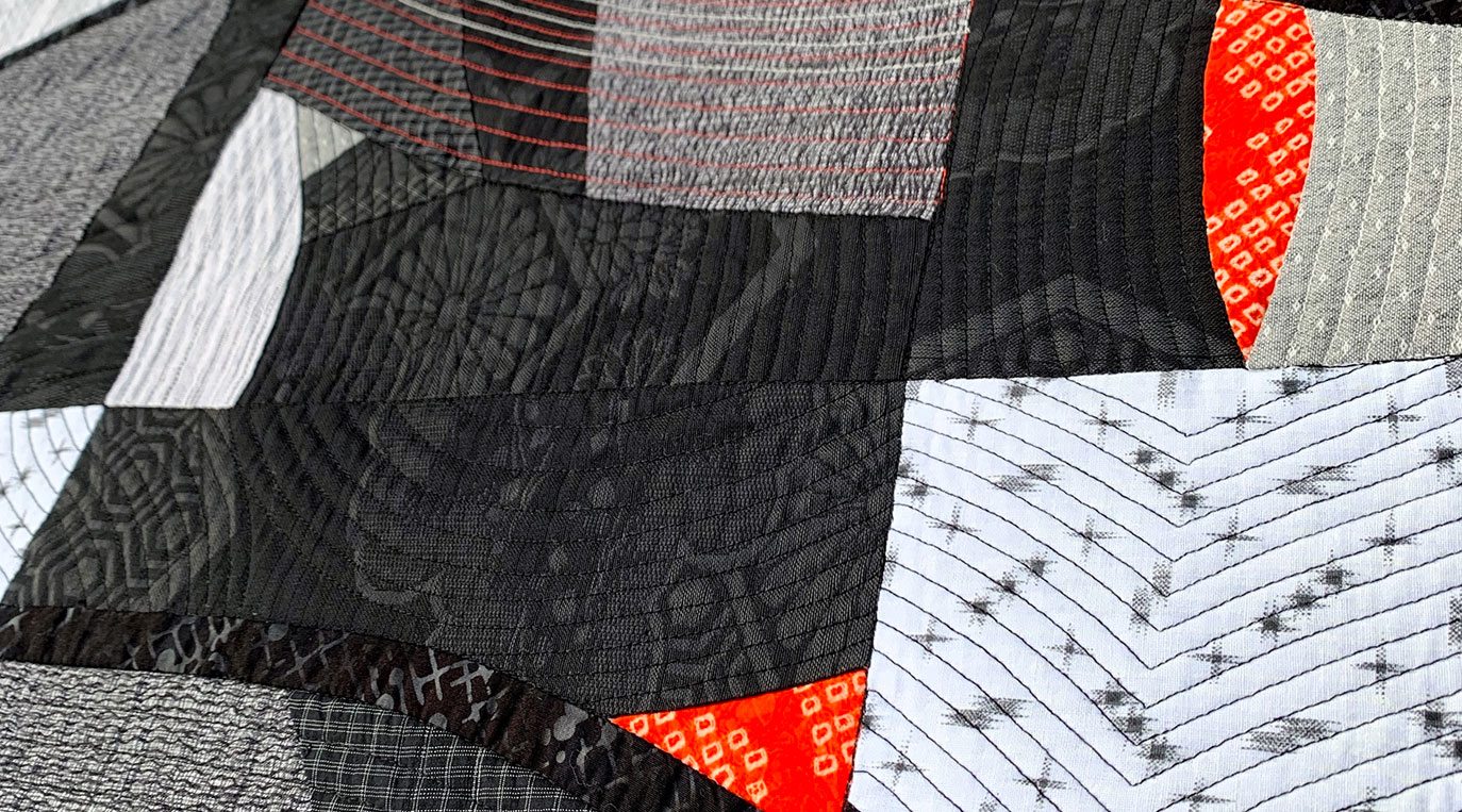 Inspired by Art Workshop – detail of completed Naniwa Okita quilt