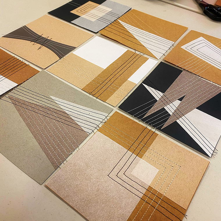 Mini paper quilts from Modern Abstract Quilts workshop