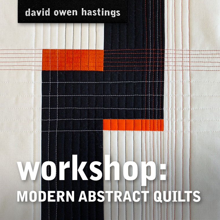 Modern Abstract Quilts Workshop – title graphic with black, white and red mini quilt