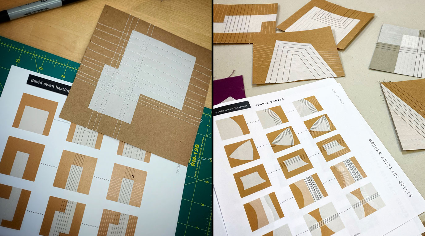 Modern Abstract Quilts Workshop – photo of handouts plus mini stitched paper quilts
